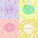 Uppsättning av jasmin, fjäril, liljekonvalj, snödroppe ljus fo Arkivfoton