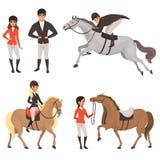 Uppsättning av jockey och hästar i olika handlingar Begrepp för rid- sport Tecknad filmfolktecken i special likformig Royaltyfri Bild