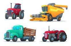 Uppsättning av jordbruks- transport Lantgårdutrustning, traktorer, lastbil och skördearbetare industriella medel Tecknad filmdesi royaltyfri illustrationer