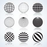 Uppsättning av 9 jordklot, abstrakta runda designbeståndsdelar royaltyfri illustrationer