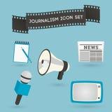 Uppsättning av journalistiksymboler Arkivfoto