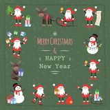 Uppsättning av jul Santa Claus och snögubben Royaltyfri Fotografi
