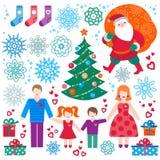 Uppsättning av jul, vektorbeståndsdelar för lyckligt nytt år vektor illustrationer