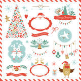 Uppsättning av juldiagrambeståndsdelar Arkivbilder