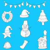 Uppsättning av juldiagrambeståndsdelar Royaltyfri Foto