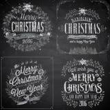 Uppsättning av julemblem - svart tavla Royaltyfri Fotografi