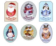 Uppsättning av juletiketter med jultomten, snöjungfrun och roliga djur Arkivbilder