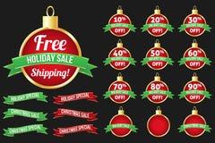 Uppsättning av julförsäljningssymboler Vektor Illustrationer