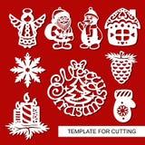 Uppsättning av julgarnering - konturer av ängeln, Santa Claus, snögubben, huset, stearinljus, snöflinga, sörjer kotten stock illustrationer