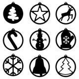 Uppsättning av julgarnering: sätta en klocka på xmas-trädet, snögubben, snöflingan, godisen, boll Mall för laser-klipp, träskulpt stock illustrationer