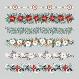 Uppsättning av julgränser, rader, girlander eller borstar Festa garnering med gran- och eukalyptusträdfilialer stock illustrationer
