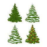 Uppsättning av julgranar med garneringar av julbollar, i snö stock illustrationer