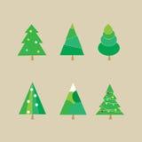 Uppsättning av julgranar - vektorillustration Royaltyfria Foton