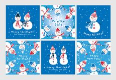 Uppsättning av julhälsningkort med hand drog gulliga snögubbear Royaltyfria Foton