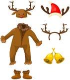 Uppsättning av julhjortdräkten Arkivfoto