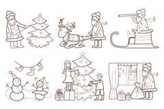 Uppsättning av julillustrationen med Santa Claus och Royaltyfri Fotografi
