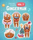 Uppsättning av julklistermärkear med uttrycksfulla kakor för pepparkakaman royaltyfri illustrationer