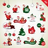 Uppsättning av julklistermärkear och Sale symboler Arkivbild