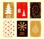 Uppsättning av julkortmallar Feriebakgrunder, affischsamling för nytt år stock illustrationer