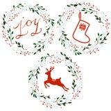 Uppsättning av julkransar Arkivbild