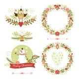 Uppsättning av julkransar, ramar, feriesymboler Royaltyfri Foto