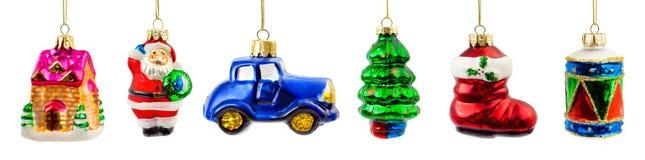 Uppsättning av julleksaker Fotografering för Bildbyråer