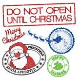 Uppsättning av julstämplar royaltyfri illustrationer