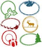 Uppsättning av julstämplar stock illustrationer