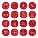 Uppsättning av julsymboler i den tunna linjen stil Royaltyfri Bild