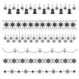Uppsättning av julsymboler, jul-träd garneringar, modeller för hälsningkort, plan vektorillustration vektor illustrationer