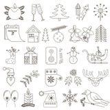 Uppsättning av 25 julsymboler med den svarta slaglängden Arkivfoton