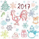 Uppsättning av julsymboler med tuppen Vektor Illustrationer