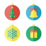 Uppsättning av julsymboler, plana symboler Royaltyfri Bild