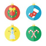 Uppsättning av julsymboler, plana symboler Fotografering för Bildbyråer