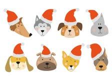 Uppsättning av jultecknad filmhundkapplöpning royaltyfri illustrationer