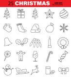 Uppsättning av julvektorlinjen symboler Träd, Klocka, boll, snöflinga, godis, stearinljus och mer Redigerbar slaglängd stock illustrationer