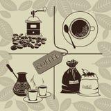 Uppsättning av kaffe royaltyfri illustrationer