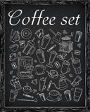 Uppsättning av kaffe & kaffetillbehör royaltyfri illustrationer