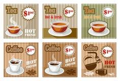 Uppsättning av kaffe- och temenykortet royaltyfri illustrationer