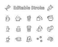 Uppsättning av kaffe- och tevektorlinjen symboler Innehåller sådana symboler som kopp te-, teabags-, kaffebönor och tjänstledighe stock illustrationer