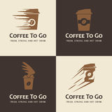 Uppsättning av kaffe som går etiketter vektor illustrationer