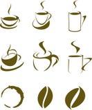 Uppsättning av kaffedesignbeståndsdelar Arkivbilder