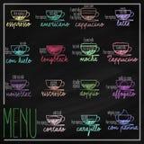 Uppsättning av kaffemenyn vektor illustrationer