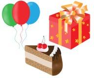 Uppsättning av kakan, ballonger, gåvaaskar för födelsedag Arkivfoton