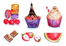 Uppsättning av kakor, frukter för flygillustration för näbb dekorativ bild dess paper stycksvalavattenfärg Royaltyfri Bild