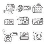 Uppsättning av kameran Linje Art Design Objects stock illustrationer