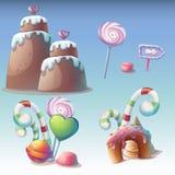 Uppsättning av karamellvektorillustrationen stock illustrationer