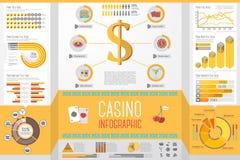 Uppsättning av kasinot som spelar Infographic beståndsdelar med Arkivfoto