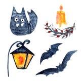 Uppsättning av katten, lampan, men och stearinljuset royaltyfri illustrationer