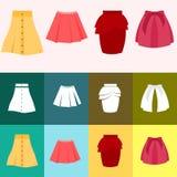 Uppsättning av kjolkvinnan Arkivfoto